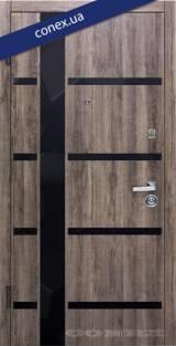 Модель 72. МДФ. Дуб орион тёмный (вставки стекло) - Входные двери
